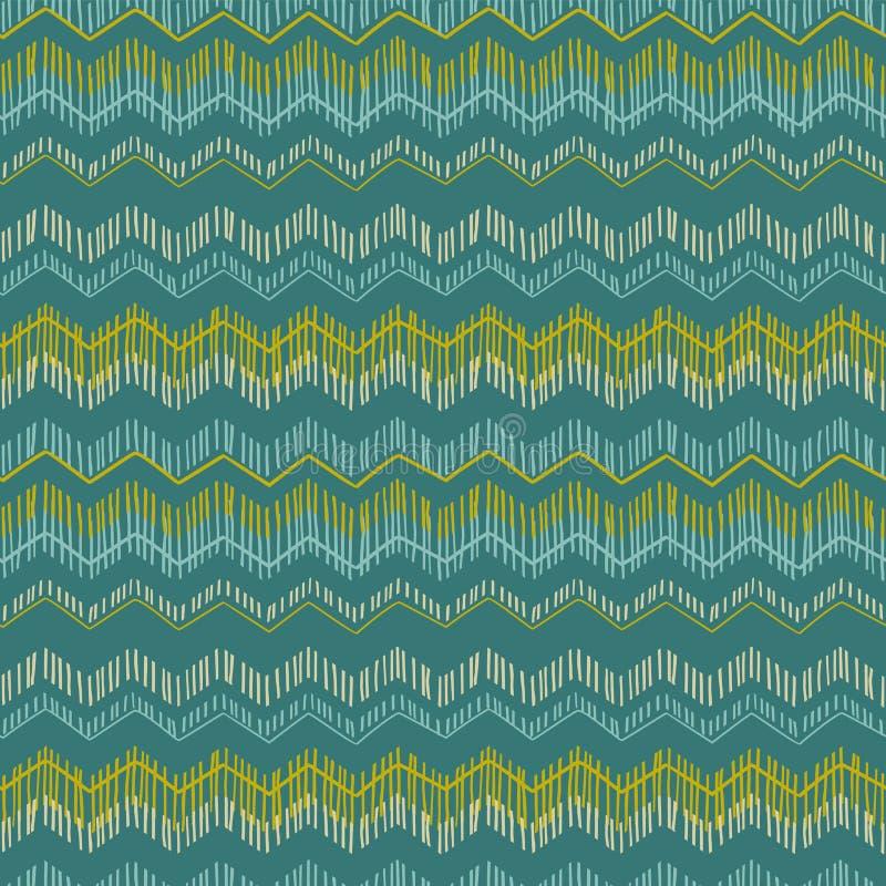 Abstraktes geometrisches nahtloses Muster mit Zickzack Modische Hand gezeichnete Beschaffenheiten vektor abbildung