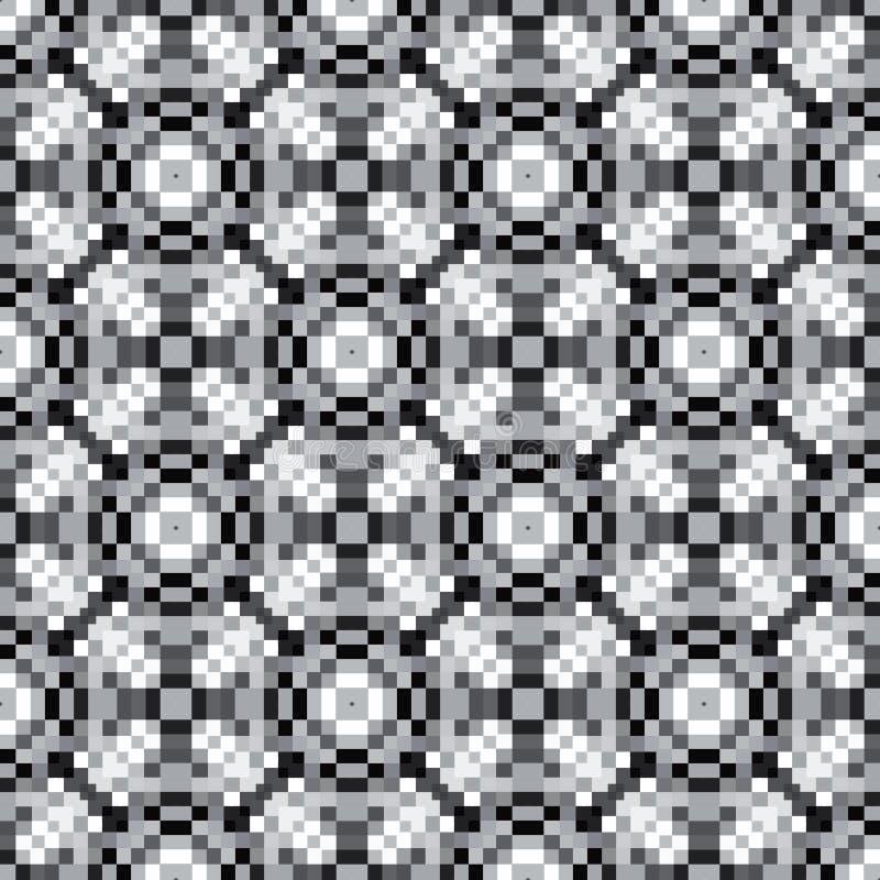 Abstraktes geometrisches Pixelkunstmuster in den Graustufen stock abbildung
