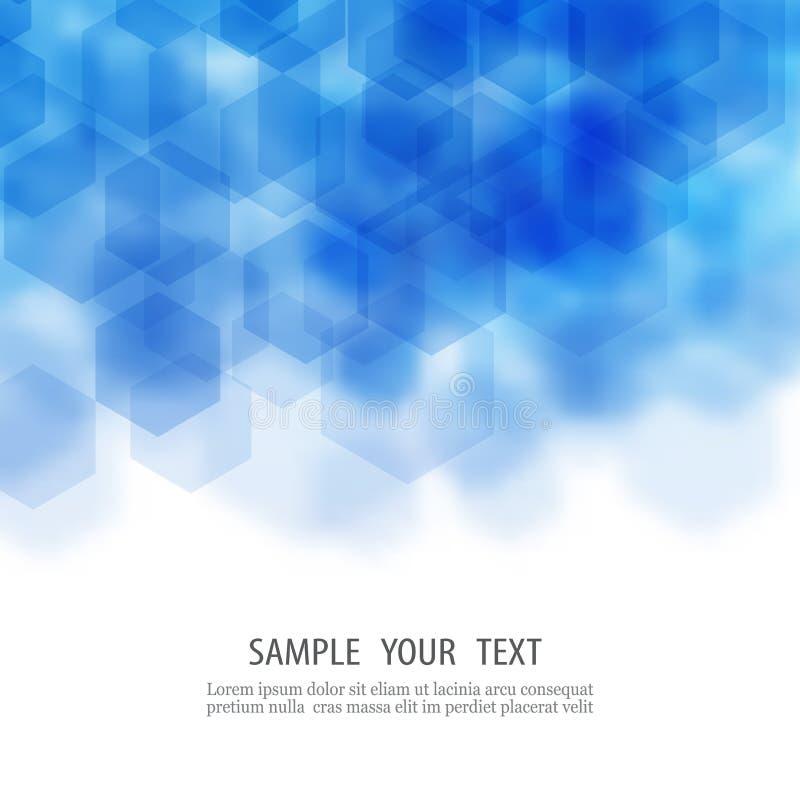 Abstraktes geometrisches Schablonenbroschürendesign Blauer Hexagonform Vektor eps10 lizenzfreie abbildung