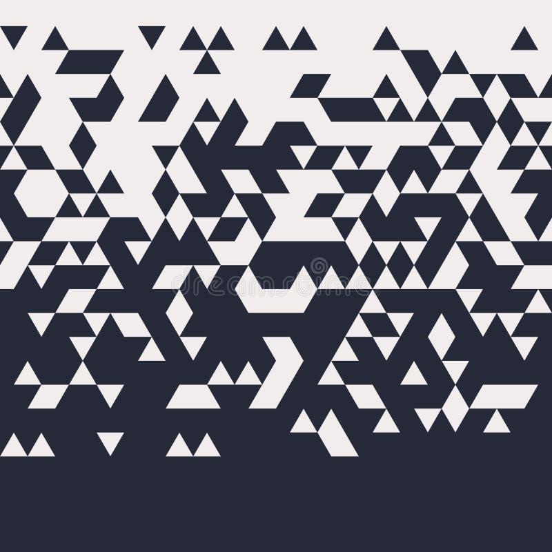 Abstraktes geometrisches Techno-Dreieck-horizontal nahtloses Muster stock abbildung