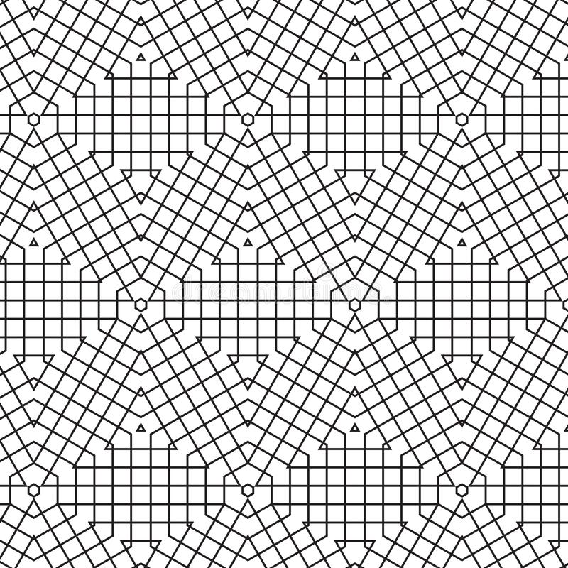 Abstraktes geometrisches Würfel-Dreieck zeichnet Gitter-Mesh Vector Seamless Pattern Background-Illustration lizenzfreie abbildung