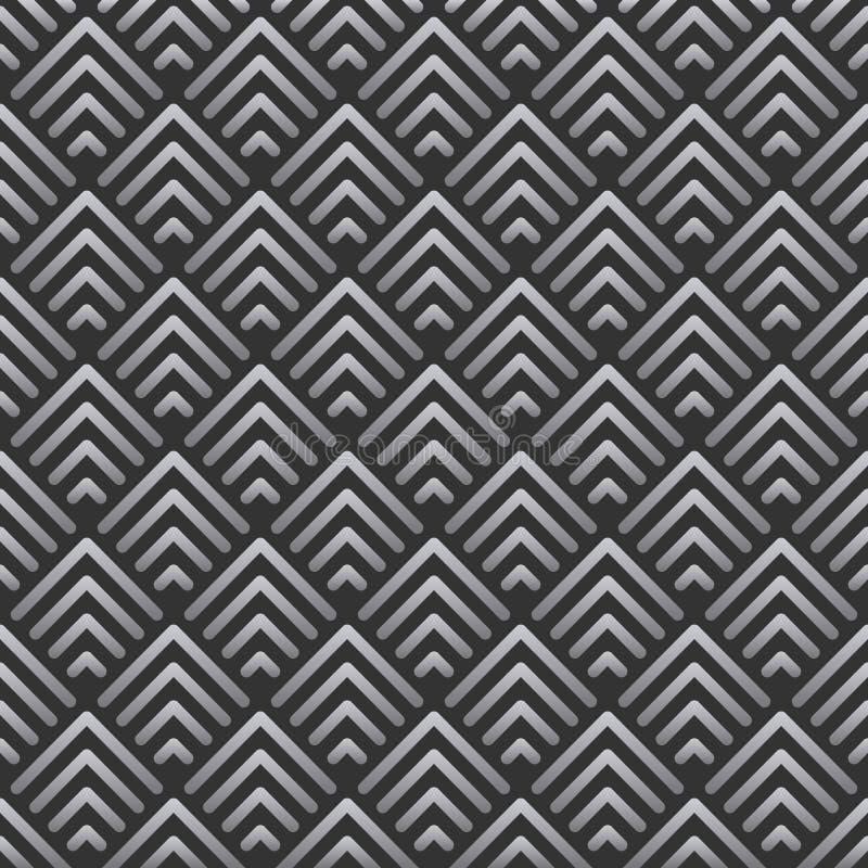 Abstraktes geometrisches Weinlesehintergrundmuster spornte in Art Deco an Vektor-Formen gemacht von den silbernen Linien stock abbildung