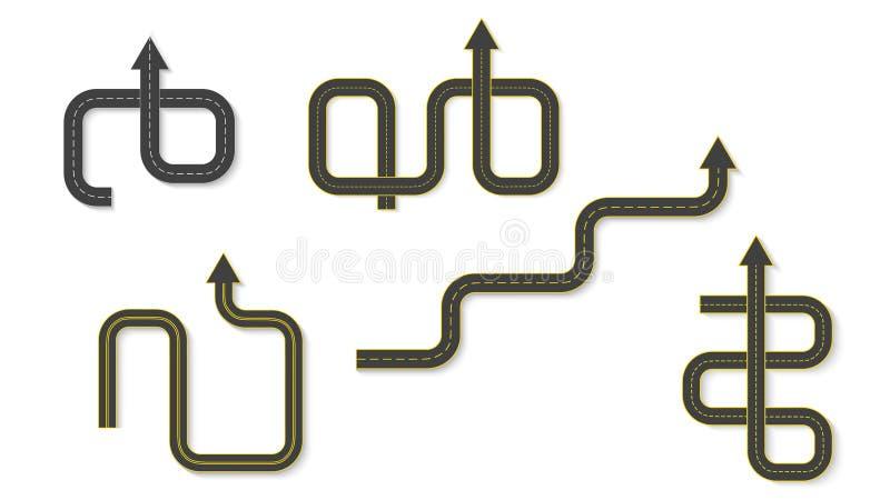 Abstraktes Geschäft infographics in Form einer Automobilstraße mit Fahrbahnmarkierungen ENV 10 lizenzfreie abbildung