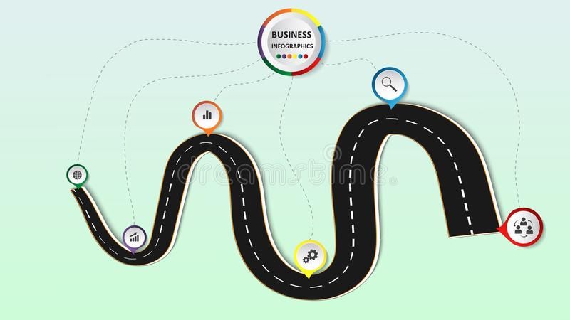 Abstraktes Geschäft infographics in Form einer Automobilstraße mit Fahrbahnmarkierungen, Markierungen, Ikonen und Text ENV 10 vektor abbildung