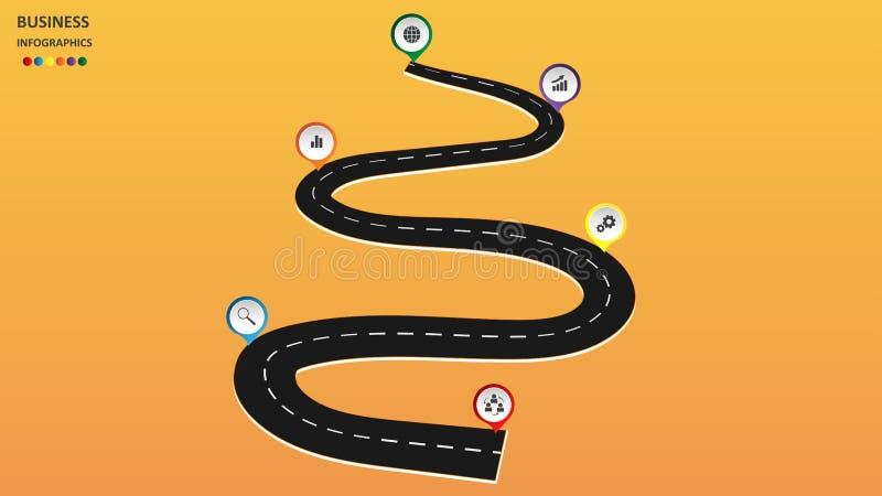 Abstraktes Geschäft infographics in Form einer Automobilstraße mit Fahrbahnmarkierungen, Markierungen, Ikonen und Text ENV 10 stock abbildung