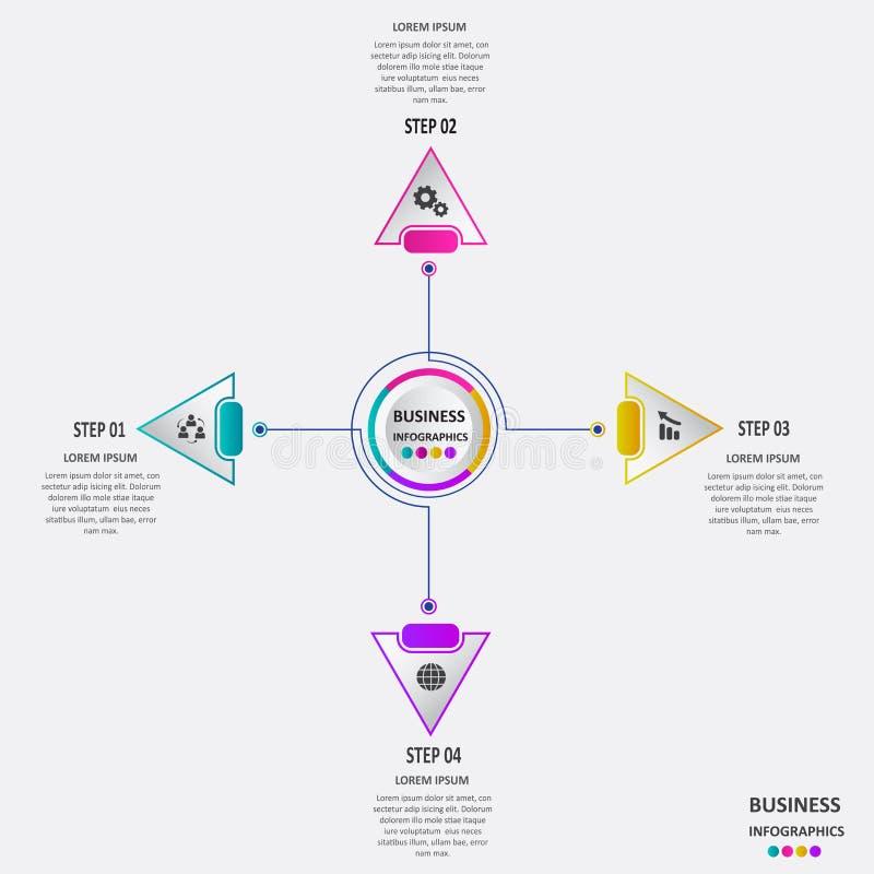 Abstraktes Geschäft infographics in Form von farbigen Formen schloss an einander durch Linien und Schritte an ENV 10 lizenzfreie abbildung