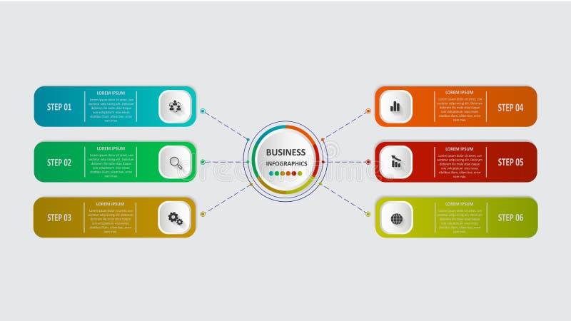 Abstraktes Geschäft infographics in Form von farbigen Formen schloss an einander durch Linien und Schritte an ENV 10 stock abbildung
