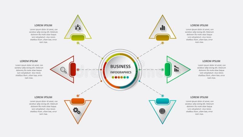 Abstraktes Geschäft infographics in Form von farbigen Zahlen schloss an einander durch Linien und Schritte an ENV 10 vektor abbildung