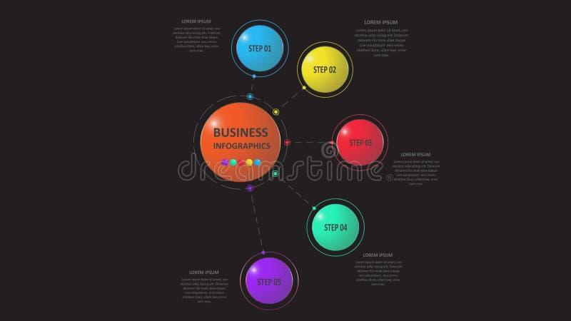 Abstraktes Geschäft infographics in Form von farbigen Zahlen schloss an einander durch Linien und Schritte an ENV 10 lizenzfreie abbildung
