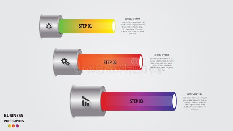 Abstraktes Geschäft infographics in Form von farbigen Zylindern mit Geschäftsbereichen, Ikonen und Text ENV 10 stock abbildung