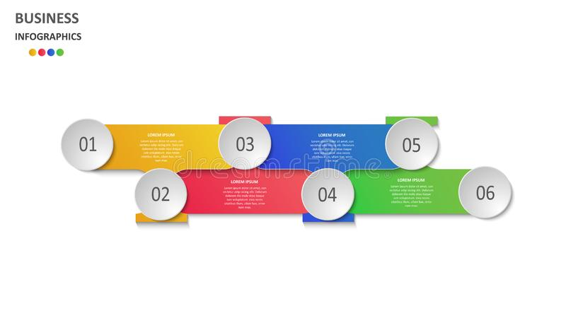 Abstraktes Gesch?ft infographics in Form von farbigen Zahlen und Schritten ENV 10 lizenzfreie abbildung