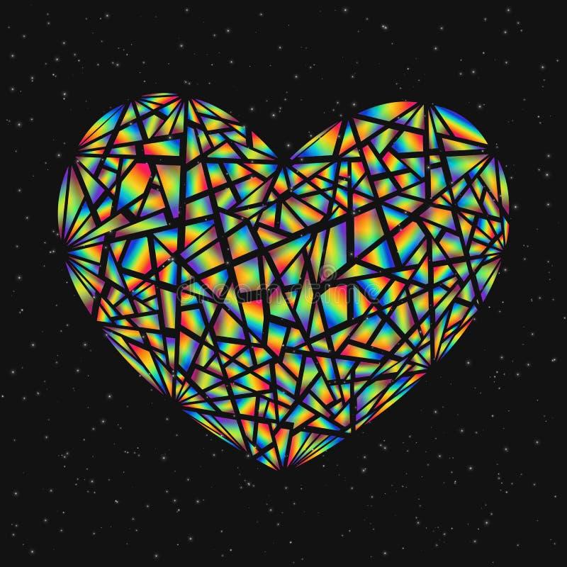 Abstraktes Gestaltungselement-buntes defektes Herz lokalisiert auf dunklem B lizenzfreie abbildung