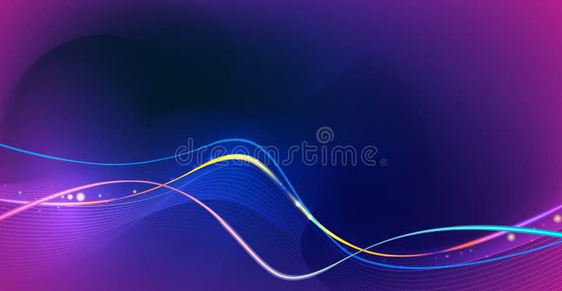 Abstraktes Gl?hen der Illustration, Neonlichteffekt, Wellenlinie, gewelltes Profil Vektordesign-Kommunikation techno auf blauem H vektor abbildung