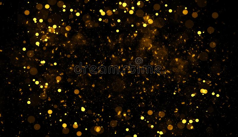 Abstraktes Gold-bokeh f?r Hintergrund Funkeln beleuchtet Beschaffenheits?berlagerungen mit Partikeln funkelt stock abbildung