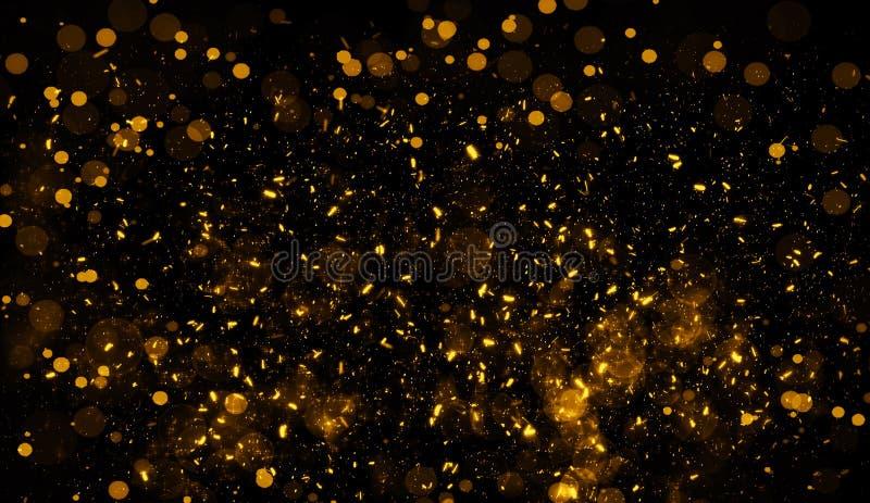 Abstraktes Gold-bokeh f?r Hintergrund Funkeln beleuchtet Beschaffenheits?berlagerungen mit Partikeln funkelt lizenzfreie abbildung