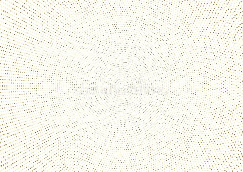 Abstraktes goldenes Spritzen oder funkelnder Halbtoneffekt mit Punktradialmuster und glühende Lichter auf weißem Hintergrund lizenzfreie abbildung