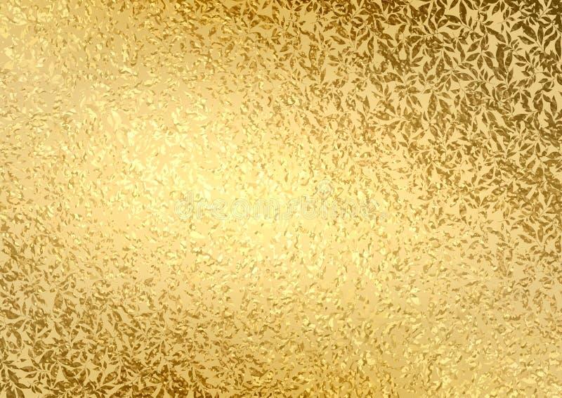 Abstraktes Goldluxushintergrund mit heller goldener Beschaffenheit verlässt stock abbildung