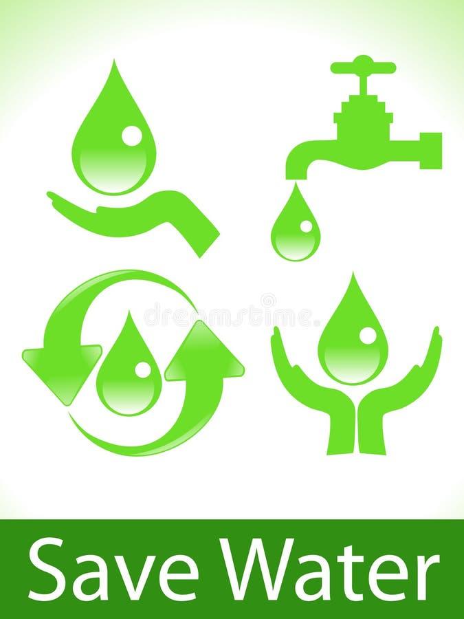Abstraktes Grün sichern Wasserikonen lizenzfreie abbildung
