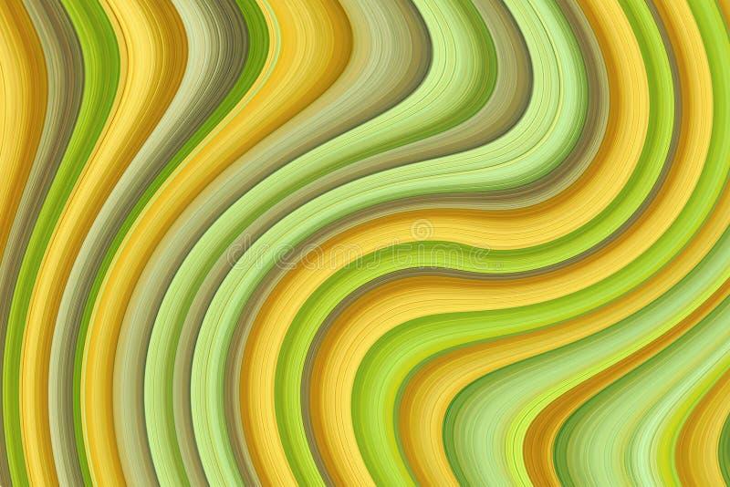 Abstraktes grünes gelbes beige graues buntes symmetrisches Segeltuch der Hintergrundentwurfs-Wellenbänder lizenzfreies stockbild