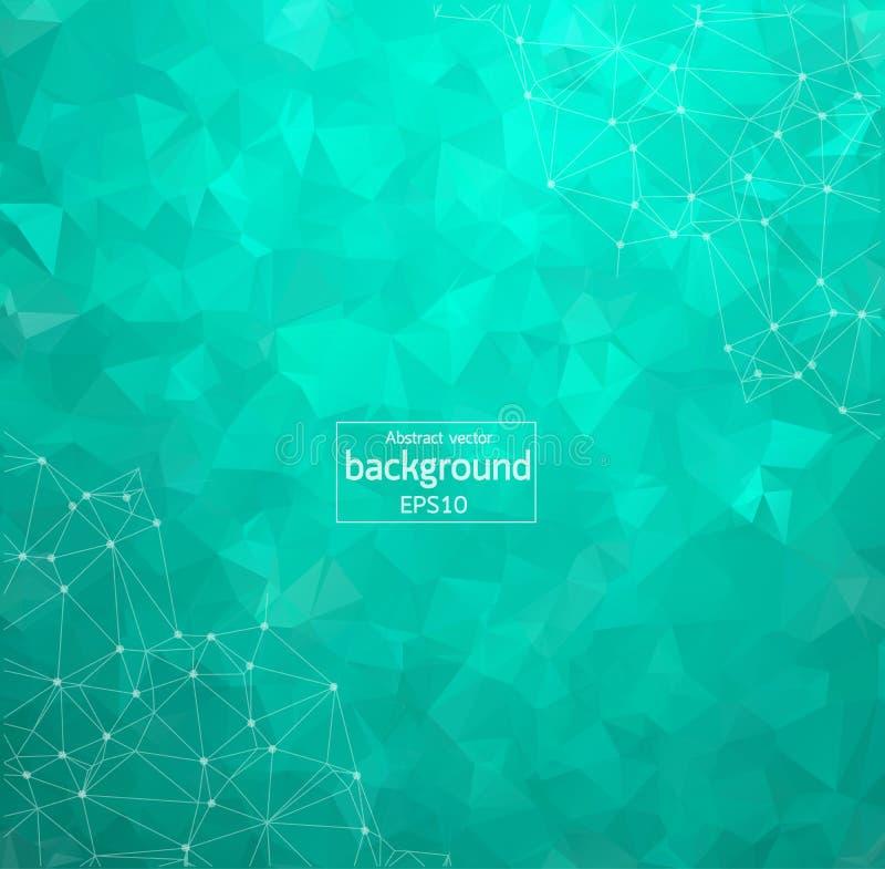 Abstraktes grünes geometrisches polygonales Hintergrundmolekül und -kommunikation Verbundene Linien mit Punkten Konzept der Wisse stock abbildung