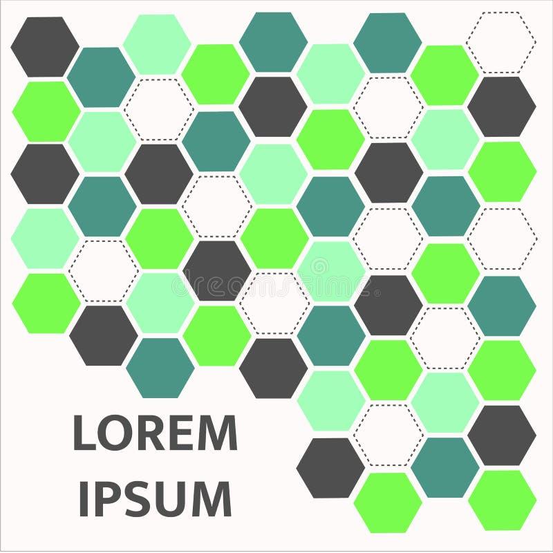 Abstraktes grünes Hexagonmuster Hintergrund, Illustration stockfotografie