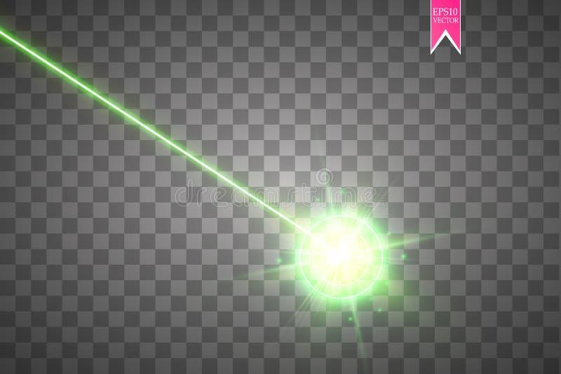 Abstraktes grünes Laserstrahl Laser-Sicherheitsstrahl lokalisiert auf transparentem Hintergrund Heller Strahl mit Glühenzielblitz lizenzfreie abbildung