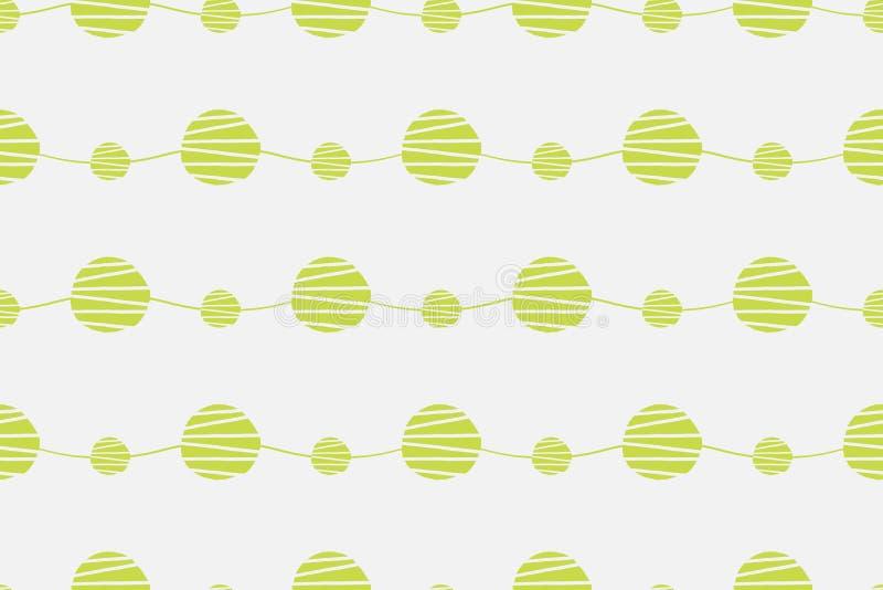 Abstraktes grünes nahtloses Vektormuster Wellen mit der gezeichneten Hand kreist Hintergrund ein vektor abbildung