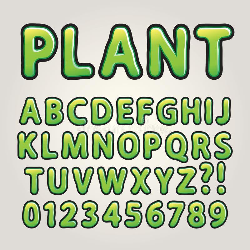 Abstraktes grünes Natur-Alphabet und Zahlen stock abbildung
