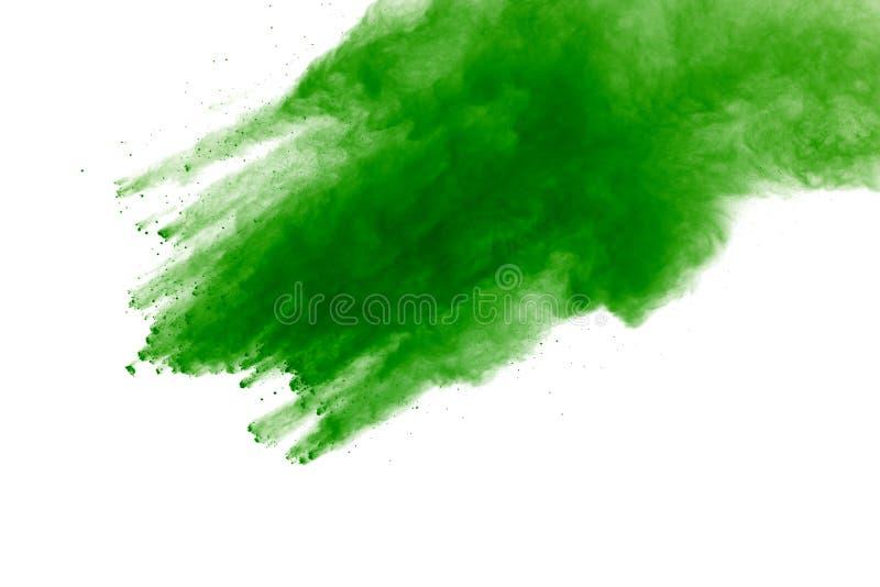 Abstraktes grünes Pulver splatted Hintergrund, Frostbewegung des explodierenden/werfenden Farbpulvers des Farbpulvers, Farbfunkel stockbild