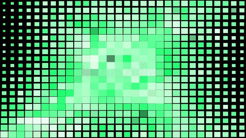 Abstraktes grünes und schwarzes quadratisches Pixel-Mosaik-Hintergrund-Vektor-Bild stock abbildung