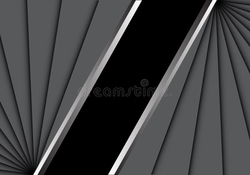Abstraktes graues overlab auf schwarzem leerem Raumfahrtzentrum für modernen kreativen Hintergrundvektor des Textplatzdesigns stock abbildung
