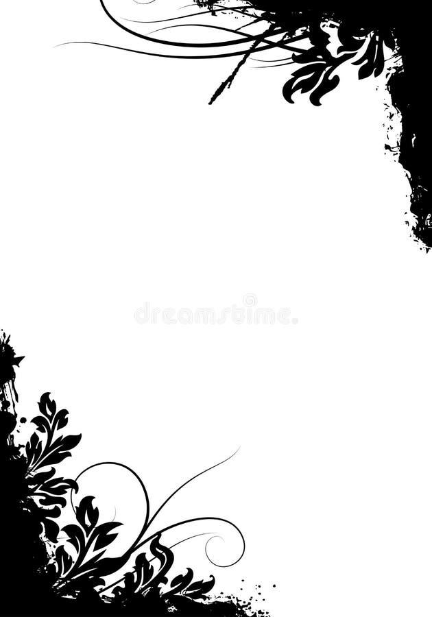 Abstraktes grunge dekorative Hintergrund-vektormit blumenabbildung stock abbildung