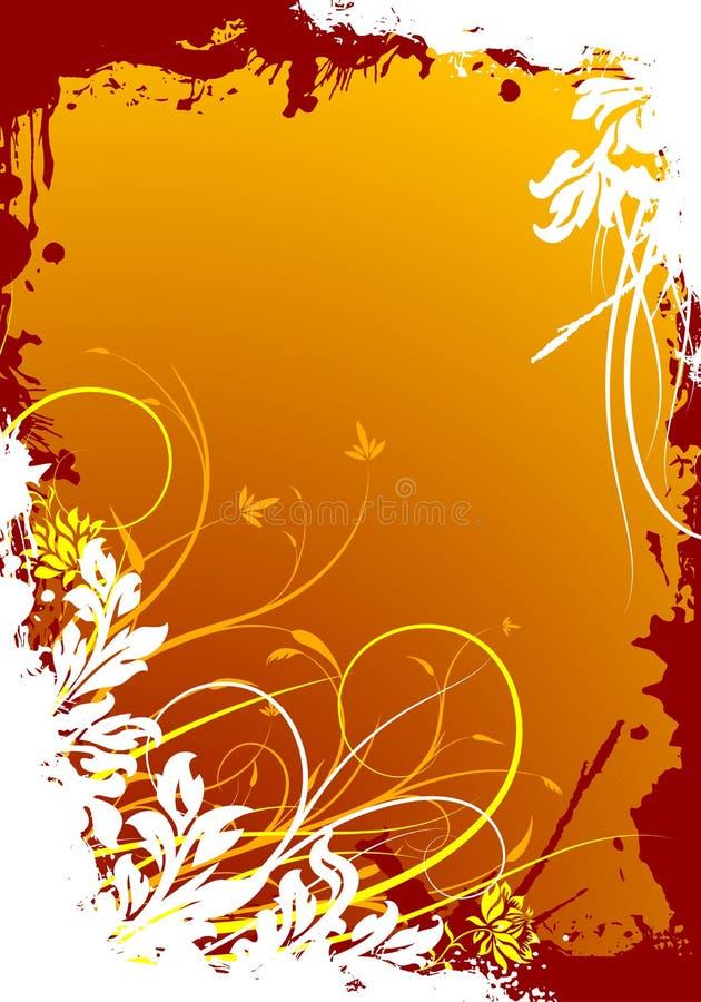 Abstraktes grunge dekorative Hintergrund-vektormit blumenabbildung vektor abbildung