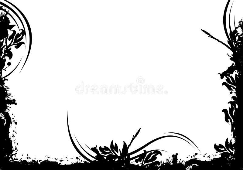 Abstraktes grunge dekoratives schwarzes Feld-Vektormit blumenillustratio stock abbildung
