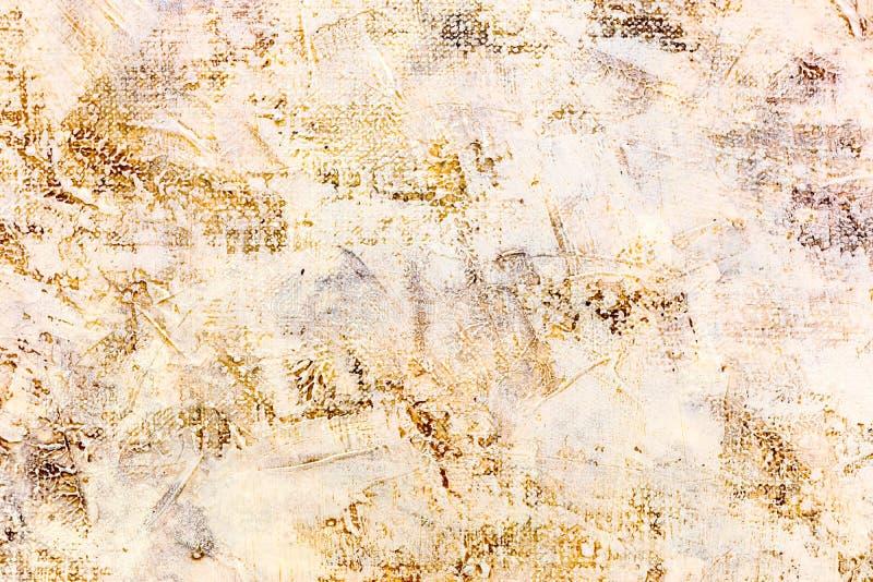 Abstraktes grungy handgemaltes strukturiertes Segeltuch mit Pinselstrichen stockbild