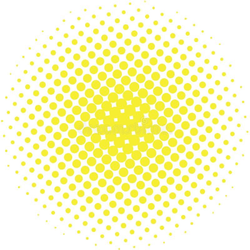 Abstraktes Halbtongestaltungselement Gelber Pop-Arten-Punkthintergrund Beschmutzte Illustration der Pop-Art Art Tupfenvektorschab lizenzfreie abbildung