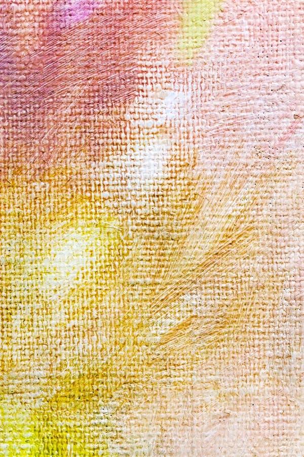 Abstraktes handgemaltes Segeltuch in den orange und gelben Farben stockfotografie