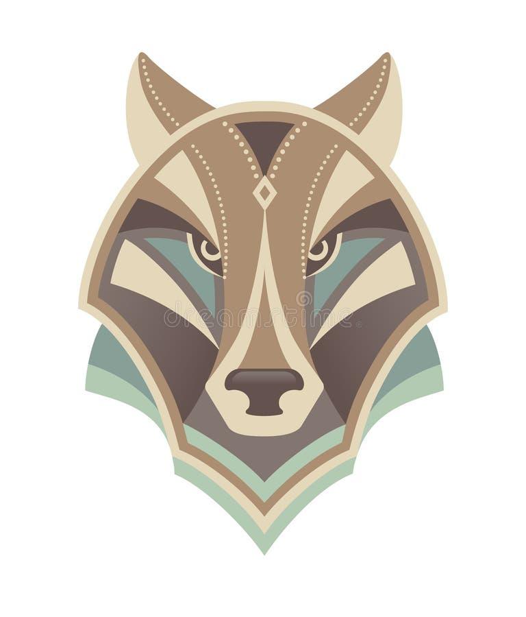 Abstraktes HauptDesign des Wolfs stock abbildung