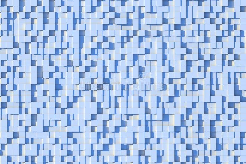 Abstraktes hellblaues geometrisches kleines Hintergrund-Design-Muster des Würfel-3d in Sun-Licht stock abbildung