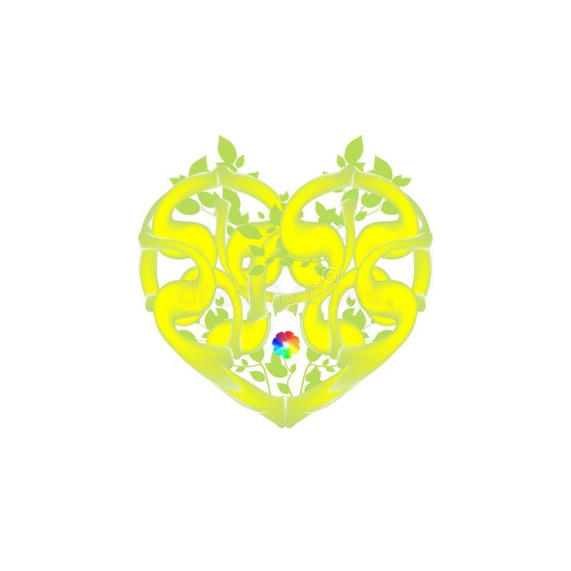 Abstraktes Herz des Verdrehens von Reben, von Laub und von Blume Grün lässt Vektor für Tag des Valentinsgruß-s Symbolliebe Illust stock abbildung