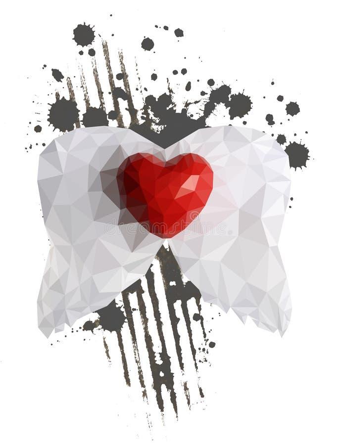 Abstraktes Herz mit Flügeln stockbilder