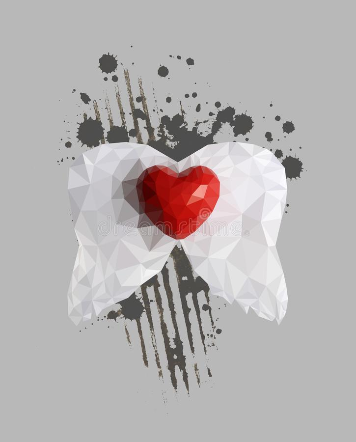 Abstraktes Herz mit Flügeln lizenzfreie stockbilder