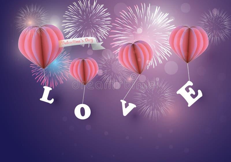 Abstraktes Herz steigt Kariesliebesletztere mit bunten Feuerwerken auf Dämmerungshintergrund im Ballon auf stock abbildung