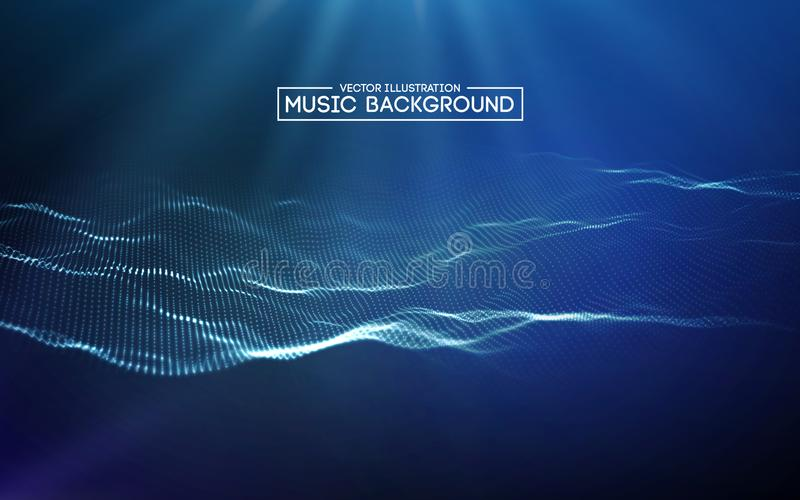 Abstraktes Hintergrundblau der Musik Der Entzerrer für Musik, Schallwellen mit Musik zeigend bewegt, Musikhintergrundentzerrer we stock abbildung