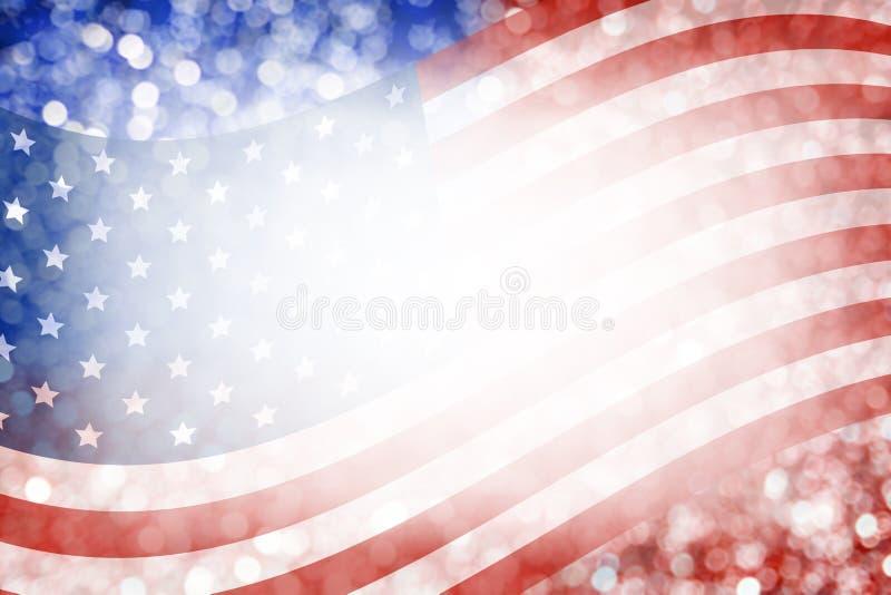 Abstraktes Hintergrunddesign der amerikanischer Flagge und des bokeh für den 4. Juli stockfoto
