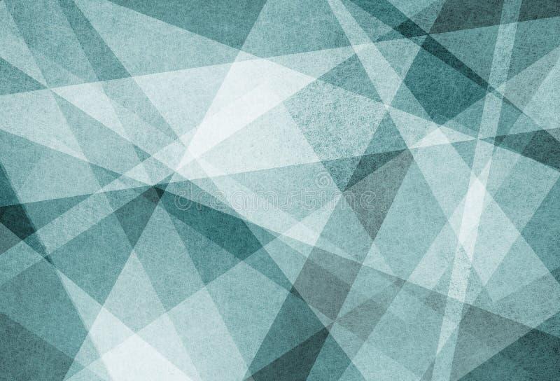 Abstraktes Hintergrunddesign von weißen winkligen Streifenlinien und -dreiecken auf blauem strukturiertem Material lizenzfreie abbildung