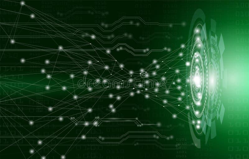 Abstraktes Hintergrundkonzept, -technologie und -wissenschaft mit elektrischem Stromkreis auf grünem Licht lizenzfreie abbildung