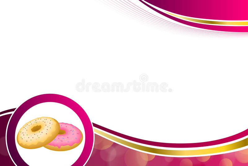 Abstraktes Hintergrundlebensmittel-Rosagelb backte Donut glasig-glänzende Ringgoldrahmenillustration vektor abbildung