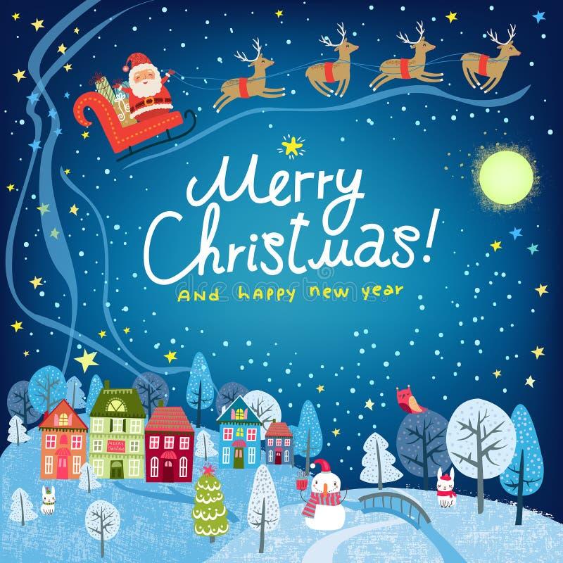 Abstraktes Hintergrundmuster der weißen Sterne auf dunkelroter Auslegung Landschaft mit Reihenhäusern und Santa Claus lizenzfreie abbildung