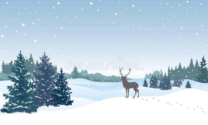 Abstraktes Hintergrundmuster der weißen Sterne auf dunkelroter Auslegung Schneewinterlandschaft mit Rotwild lizenzfreie abbildung